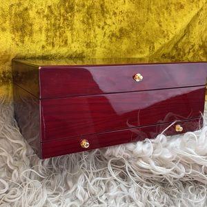 3 Tier Mahogany Wood Jewelry Mirrored Storage Box